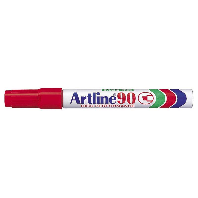 Marker Artline 90 - Permanent rød 2-5 mm firkantet spids
