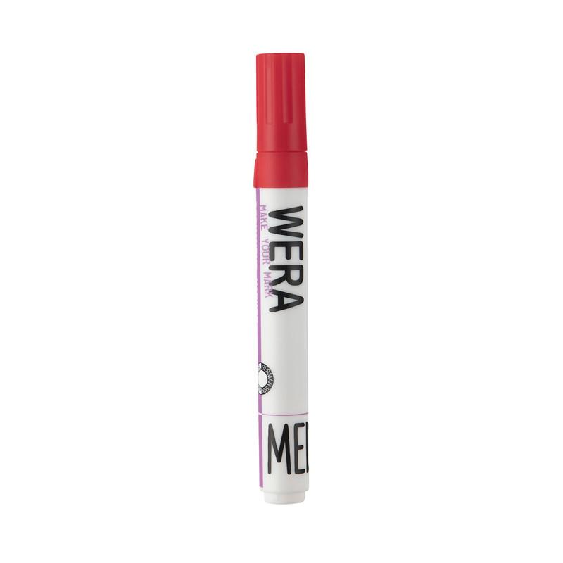 Marker WERA Office permanent - Rød rund spids 2-3 mm
