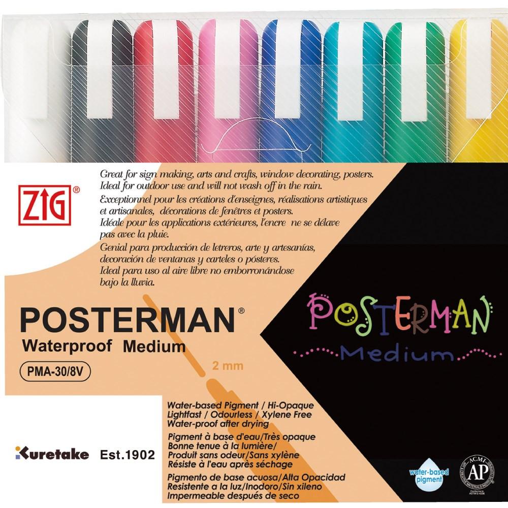 Marker ZIG Posterman Medium 2mm 8/sæt