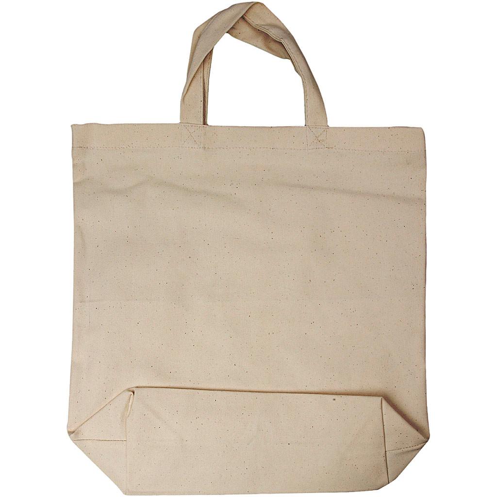 Mulepose stor med hank naturfarve - 39 x 44 cm