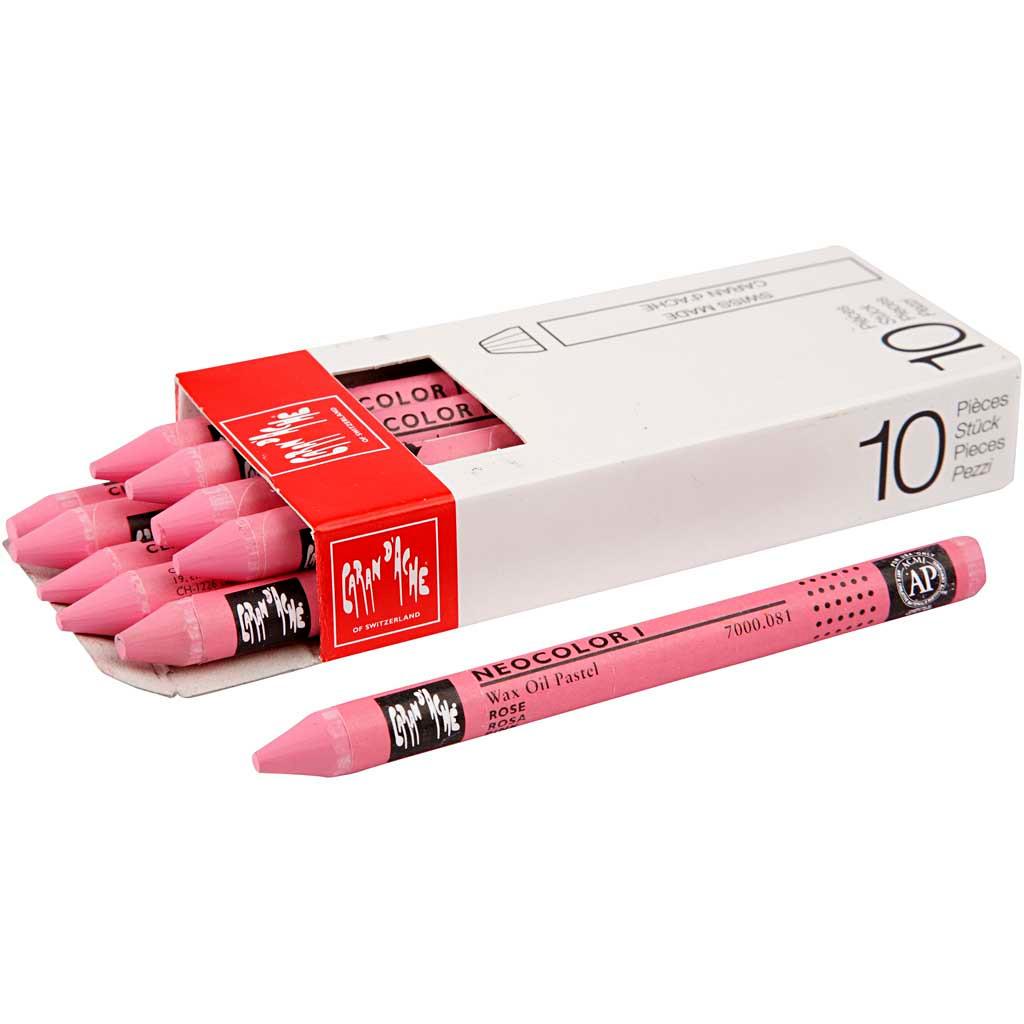Neocolor I, tykkelse 8 mm, L: 10 cm, pink (081), rosa, 10stk.