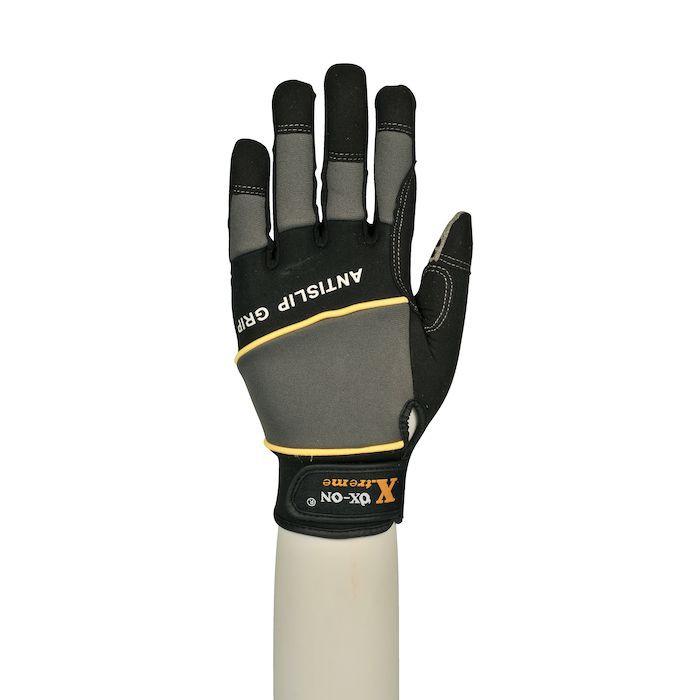 UDSOLGT Neoprenhandske, Ox-On Xtreme4, grå/sort, med velcrolukning, silicone dotter, syntetisk læder, neopre