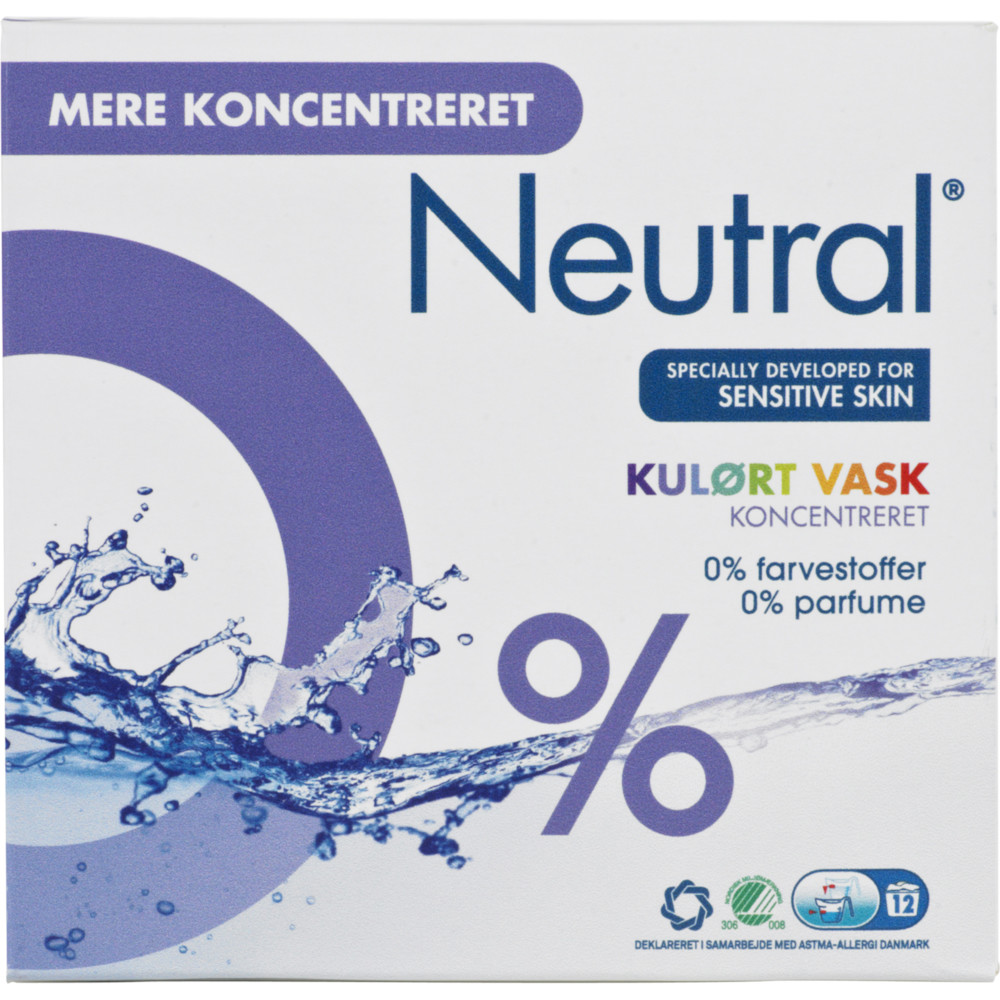 Neutral koncentreret vaskepulver til kulørt vask - 576 gram