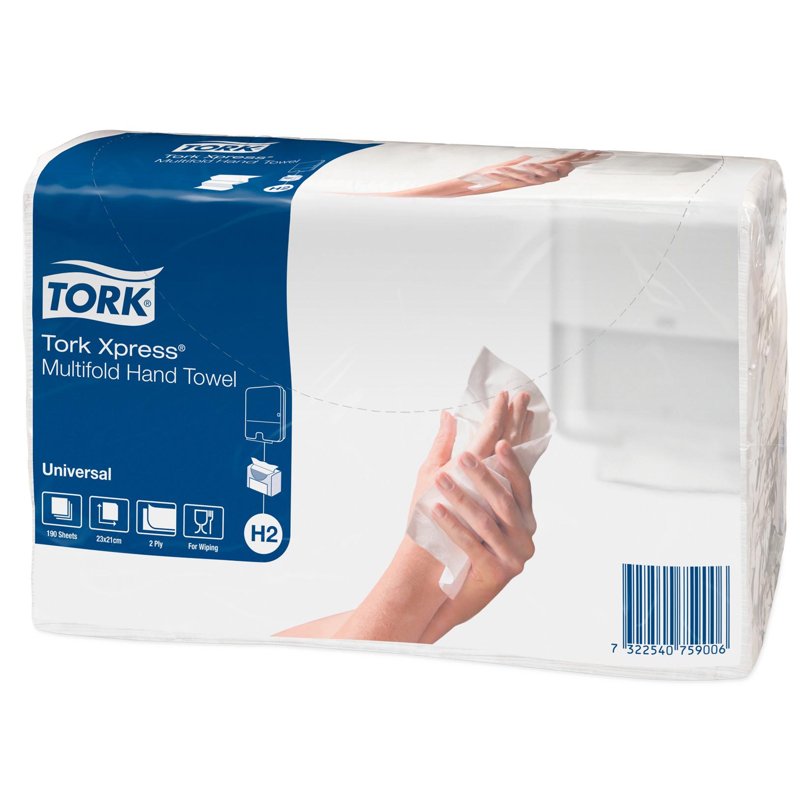 Tork Håndklædeark - N93330  Xpress H2 Univ. 2 lag - 3800 ark