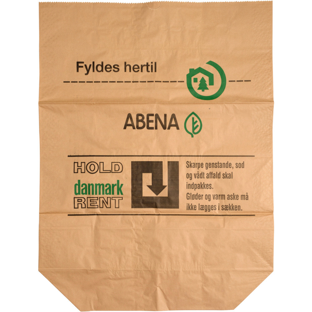 Papirsæk, Abena, Hold Danmark rent, Vådstærkt semi clupak, brun, 60 g/m2, 70x110 cm, 110 l