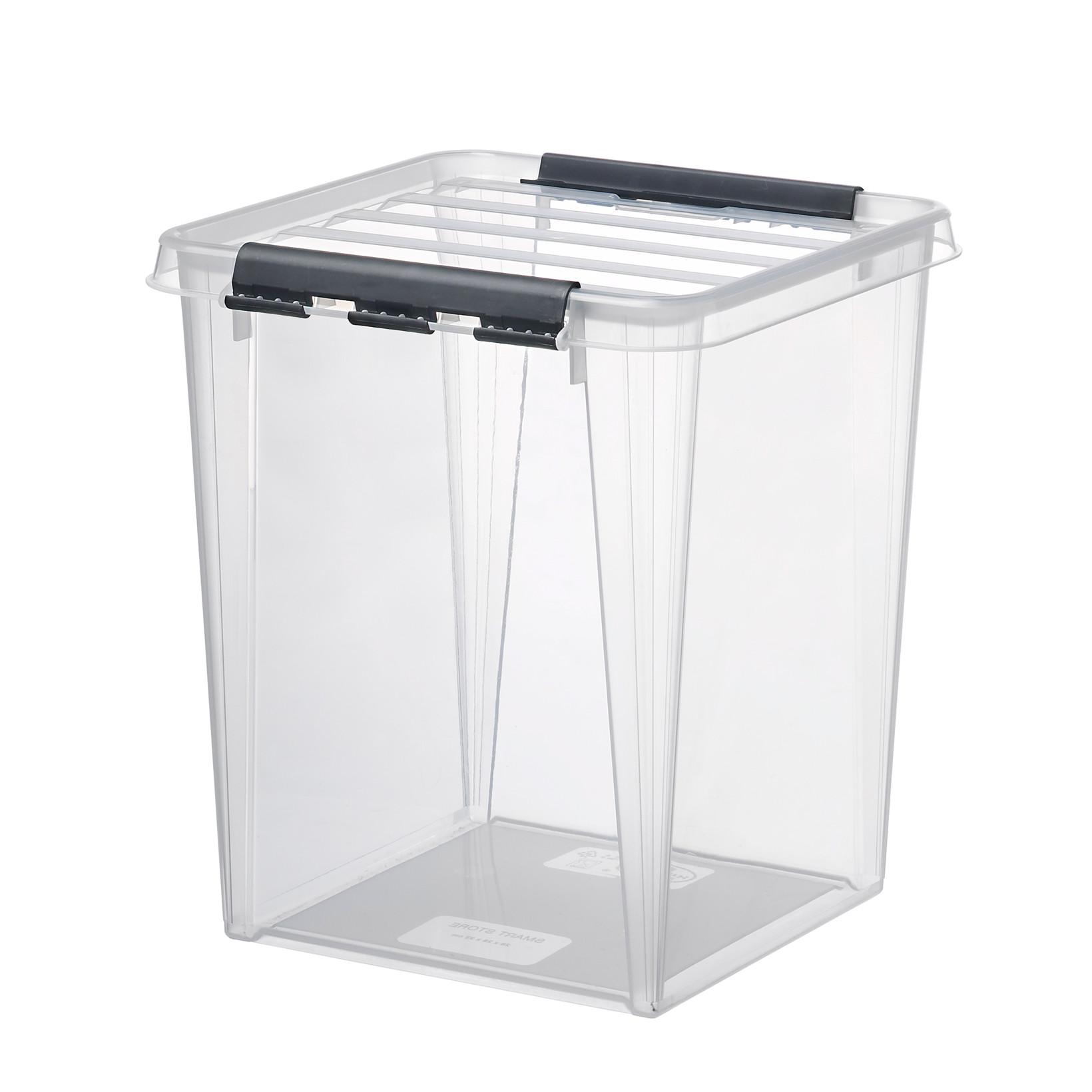 Plastikkasse - Smart Store 72 x 40 x 39 cm i klar med låg