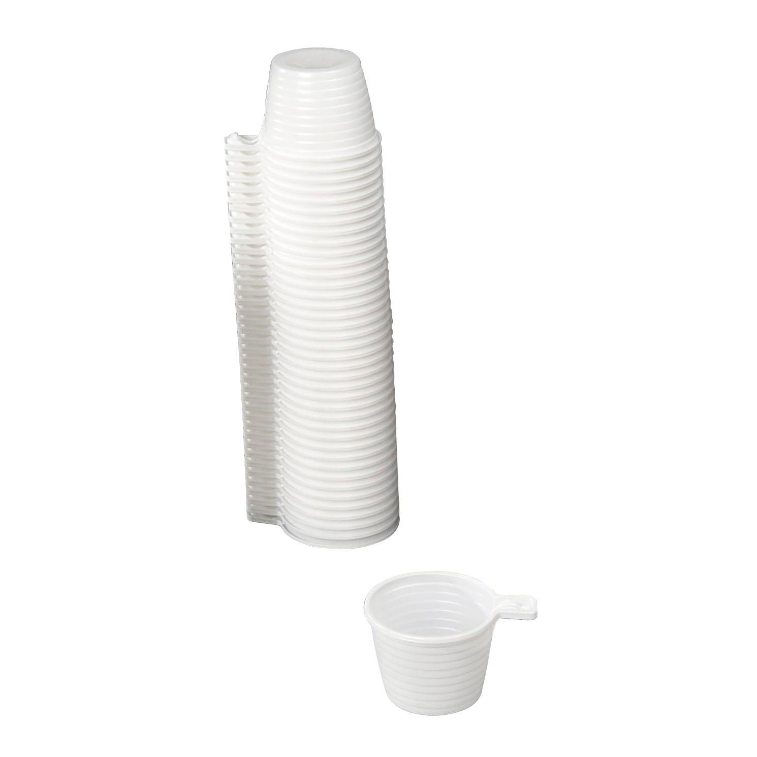 Plastikkop med hank hvid 21 cl - 50 stk