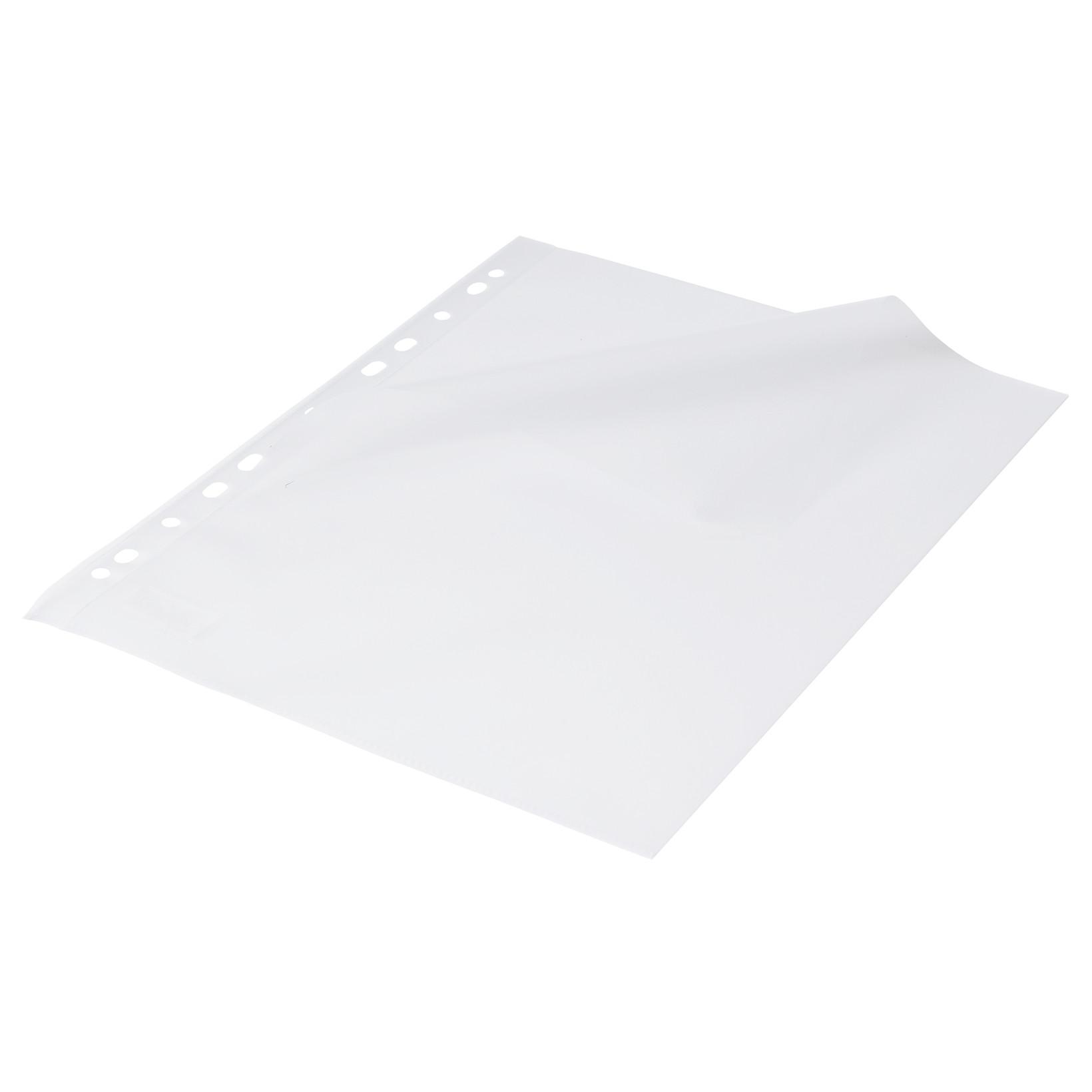Plastlomme 0,12mm A4 åbn top og venstre side med præg hvid hulkant 100stk/pak NN
