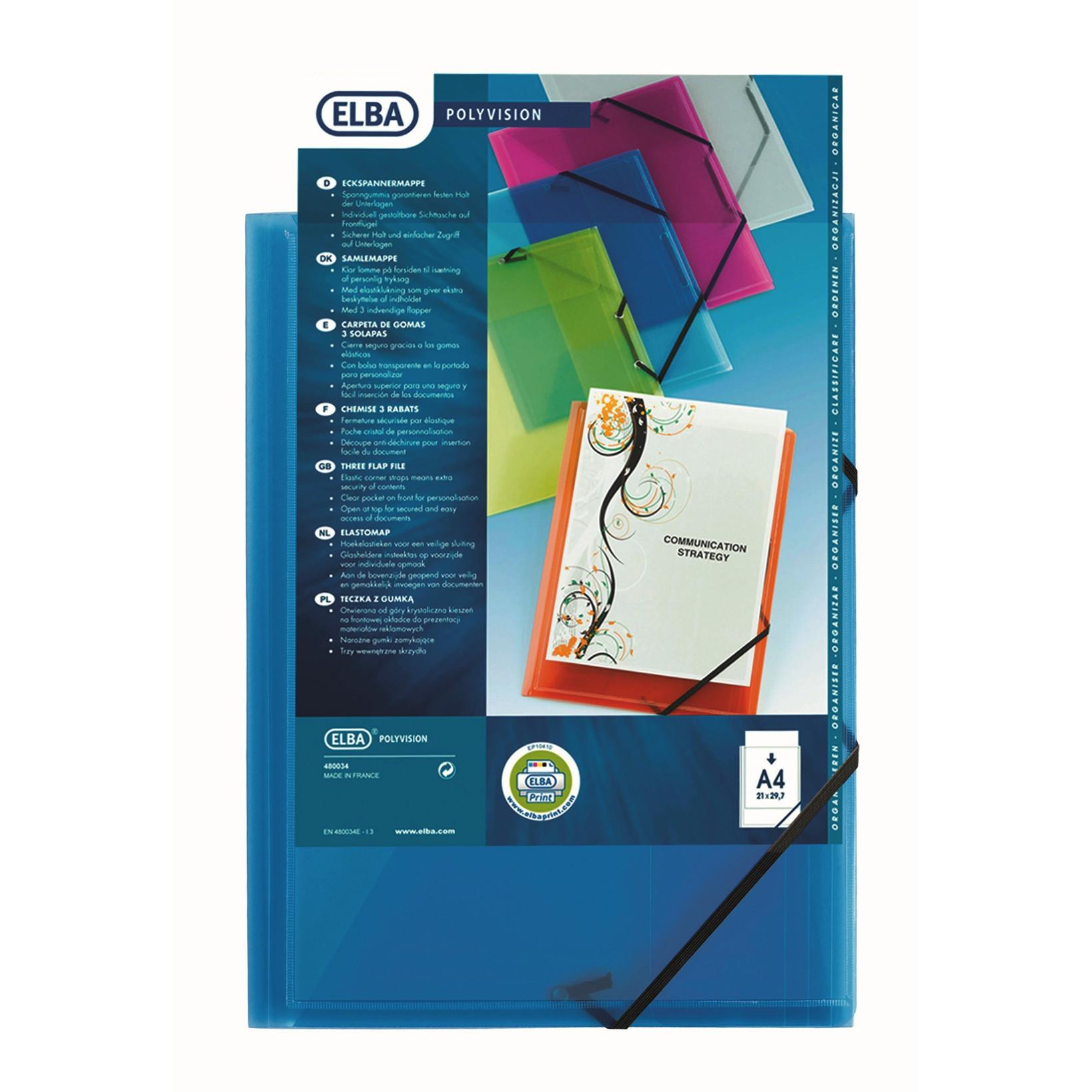 Plastmappe A4 ELBA med forsidelomme og elastik - Blå