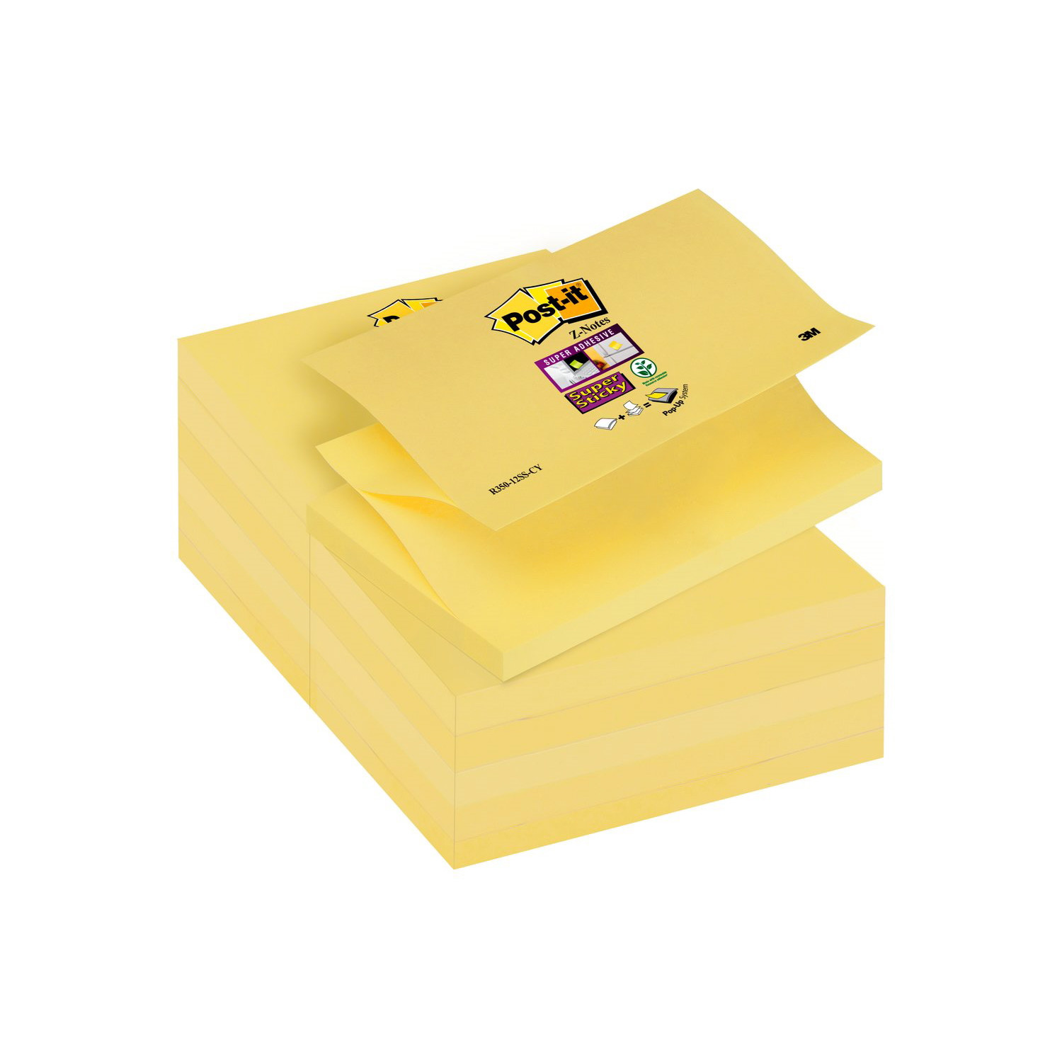 Post-it 330  - Gule Z-notes 76 x 76 mm - 12 blokke