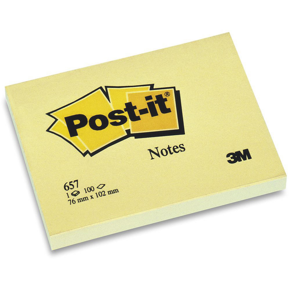 Post-it 657 - 3M Gule Notes 76 x 102 mm 100 blade - 12 blokke