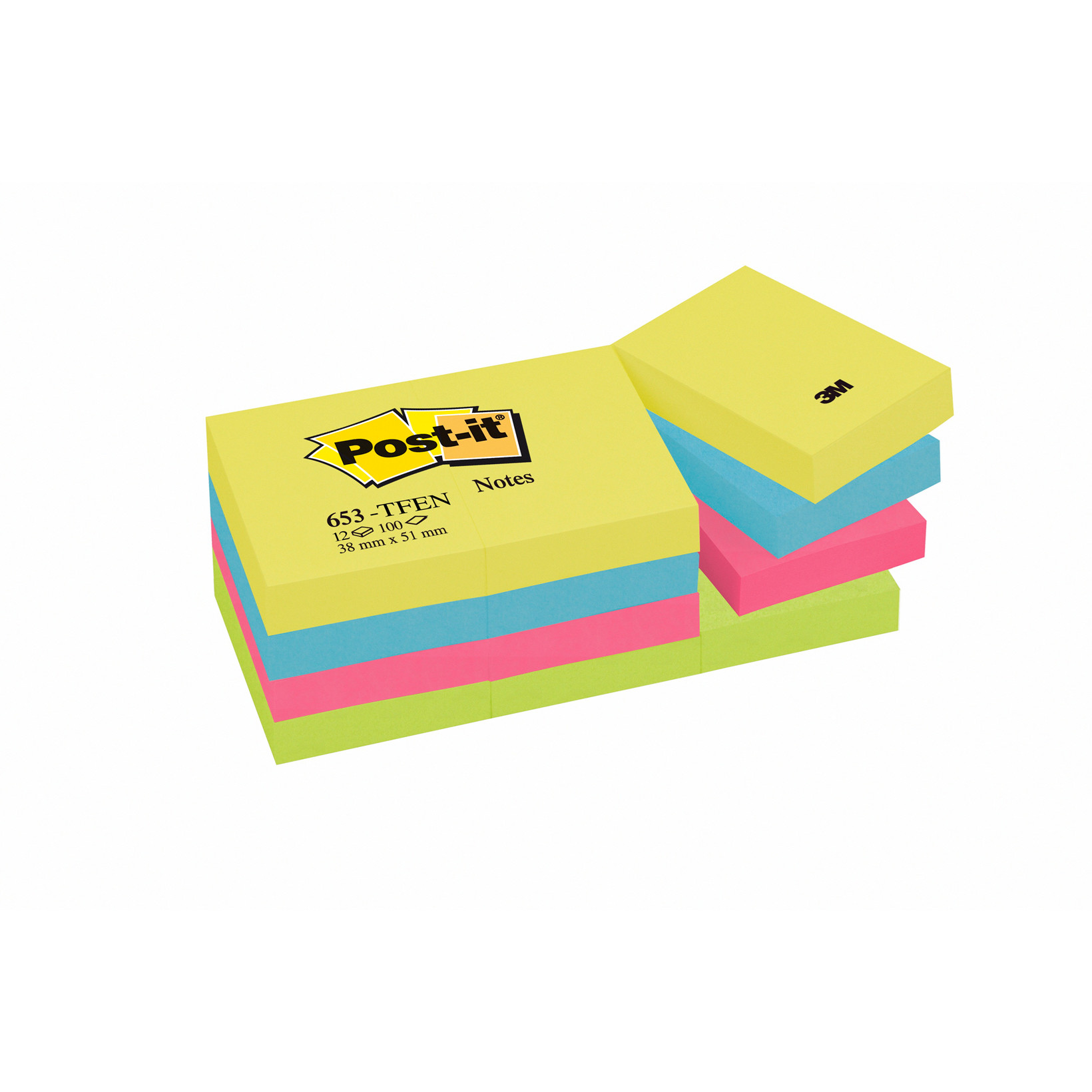 Post-it Notes - i 4 neon farver 38 x 51 mm 100 ark 653TFEN - 12 blokke