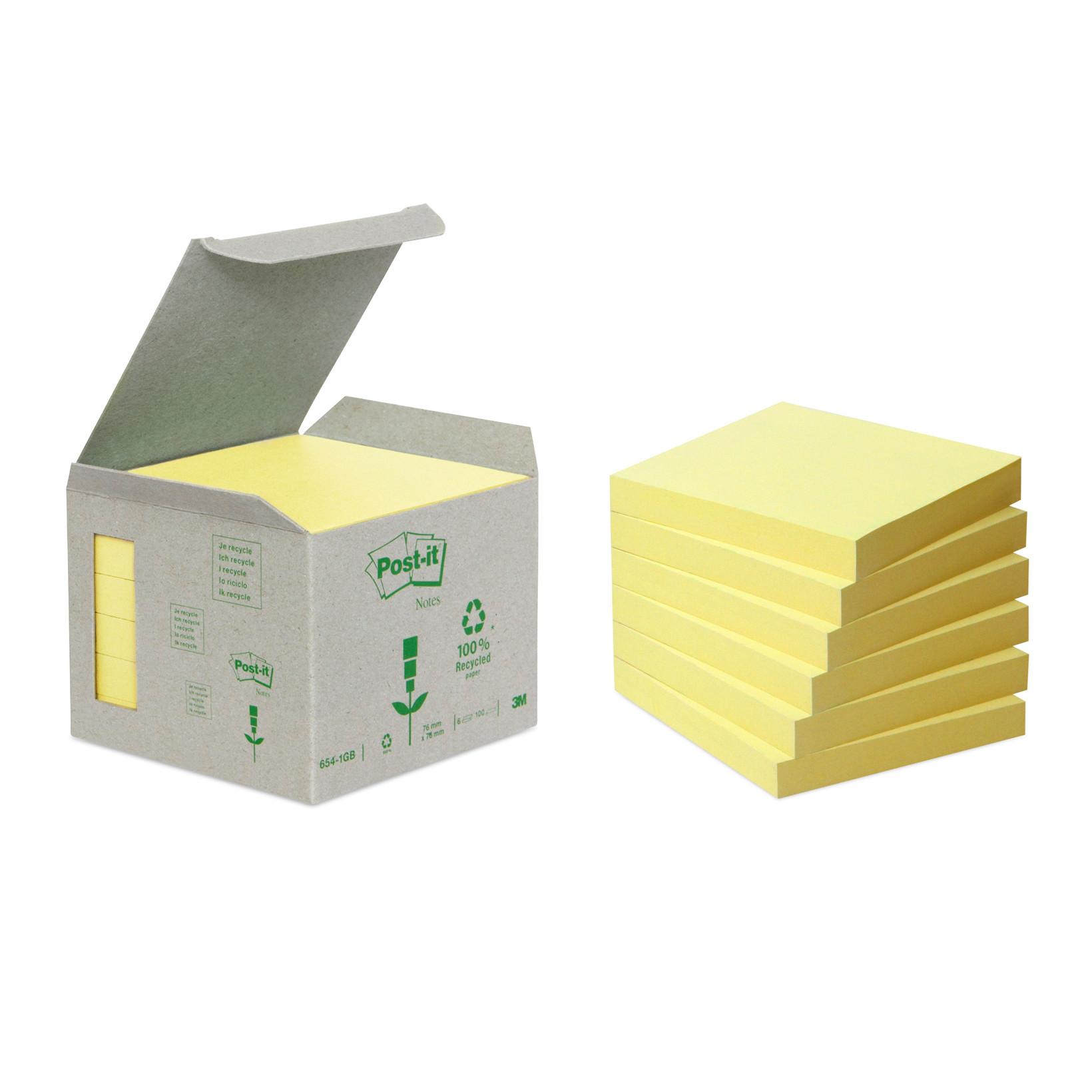 Post-it blokke notes Miljø 76 x 76 mm gul - 6 blokke