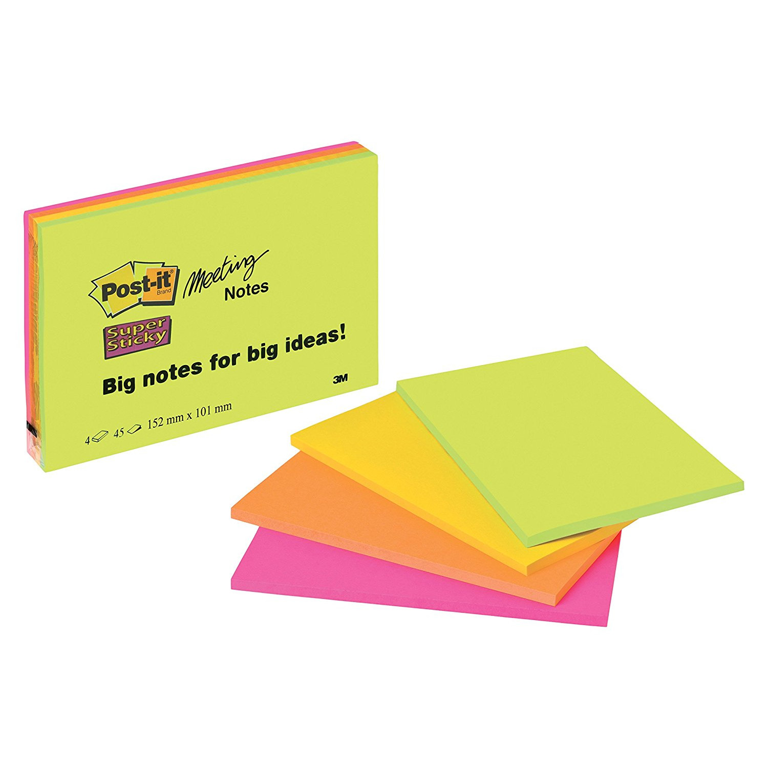 Post-it Super Sticky Meeting Notes Neon 98,4 x 149 mm - 4 blokke