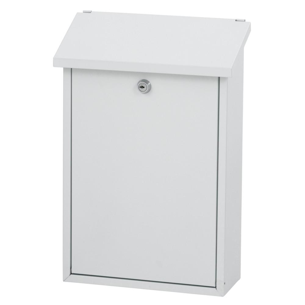 Postkasse, V-part, klar til vægmontering, hvid,