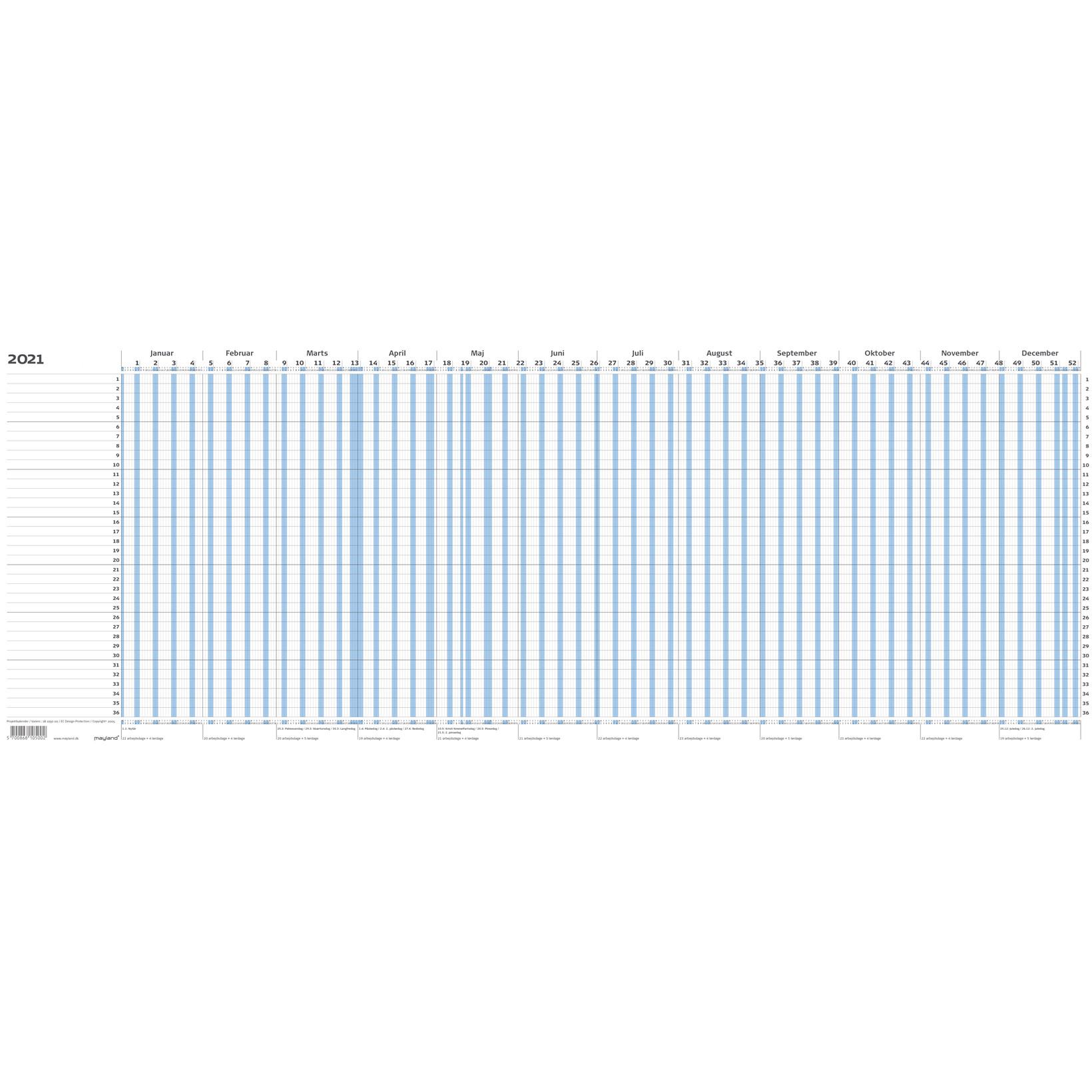 Mayland Projekt Planner 2021 blå falset t/A4 80 x 30 cm - 21 1050 00