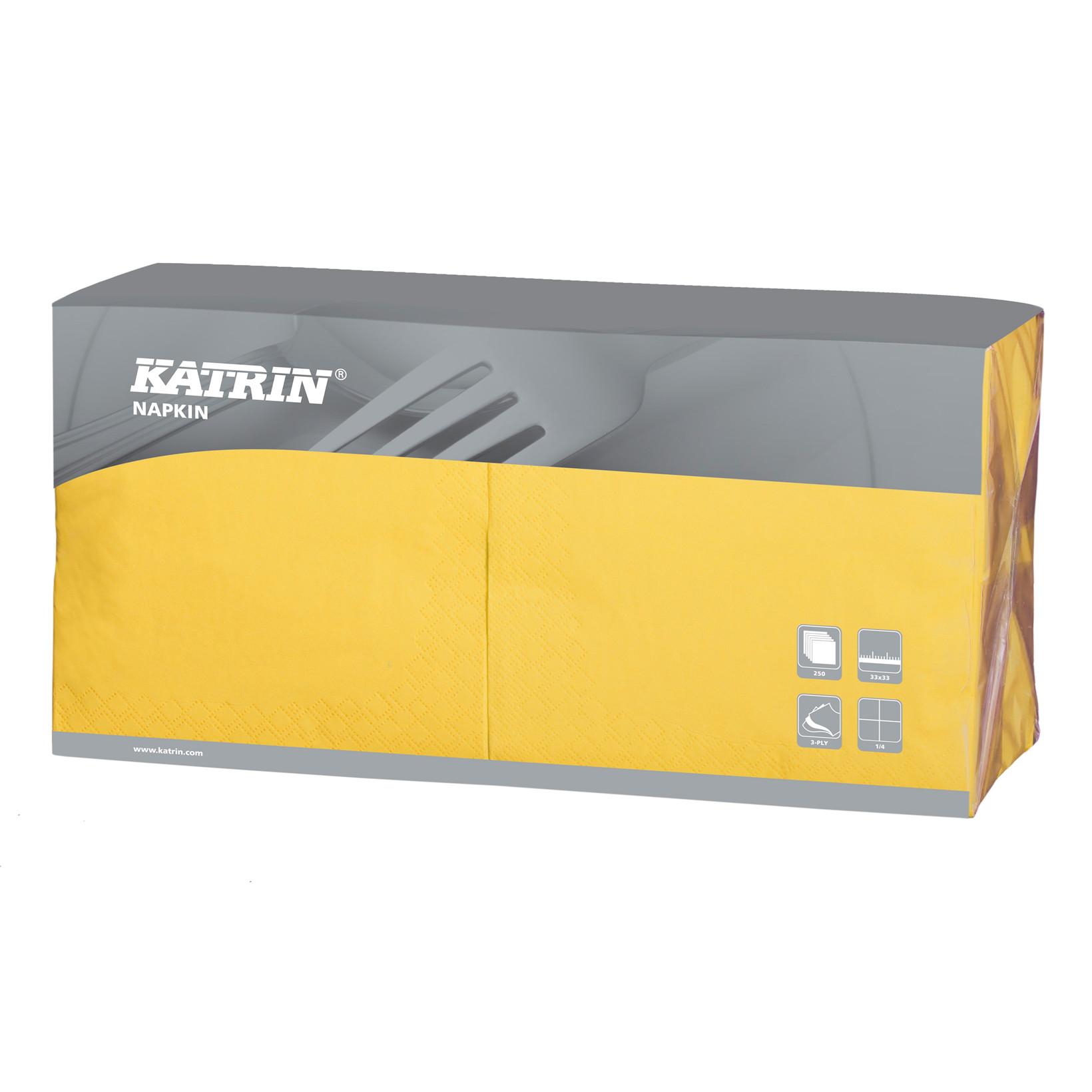 Servietter Katrin 1/4 Fold - 3-lags gul - 33 cm - 4 x 250 stk - 114546