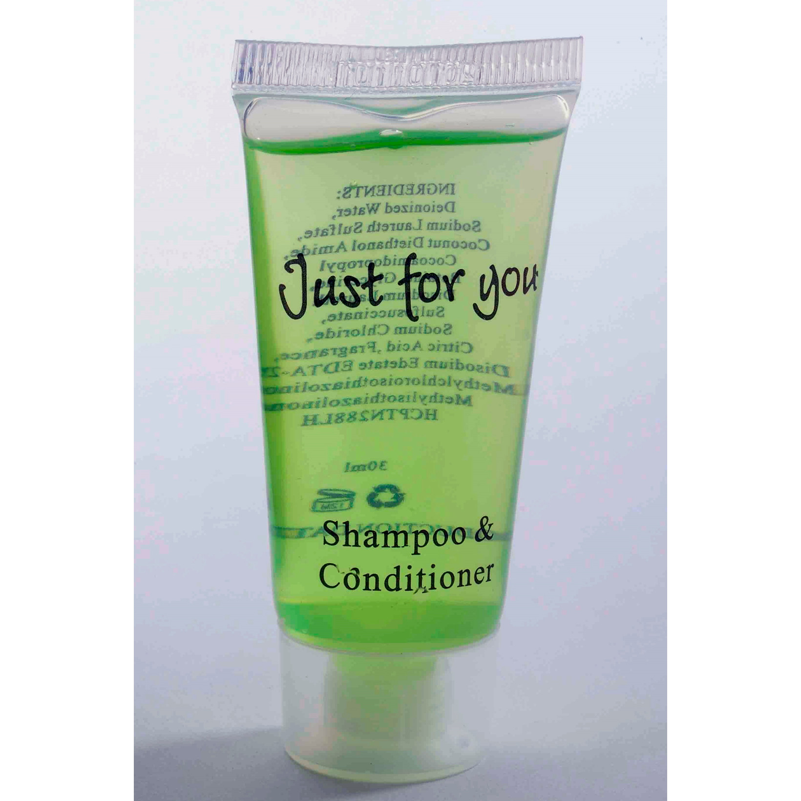 """Hotelsæbe Shampoo & Conditioner 20 ml tube """"Just For You"""" - 100 stk"""