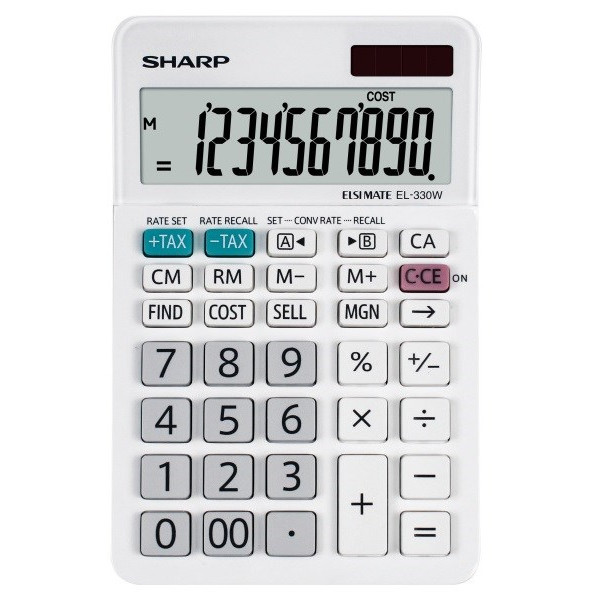 Lommeregner Sharp EL-330W, 10 cifre - bordregner