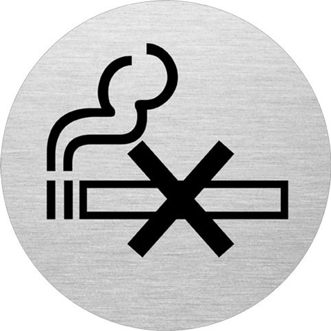 Dørskilt rygning forbudt - Infoskilt i aluminium Ø: 75 mm