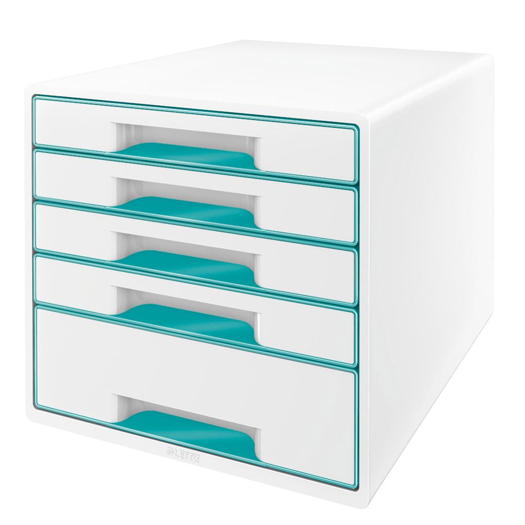 Skuffekabinet Desk Cube Leitz WOW hvid/isblå 5 skuffer