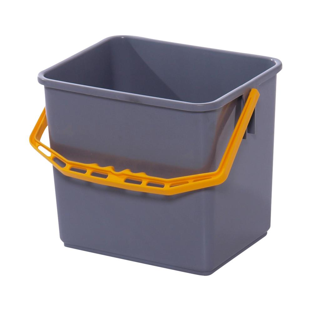 Spand, Tina Trolleys, grå, med gul hank, 6 l,