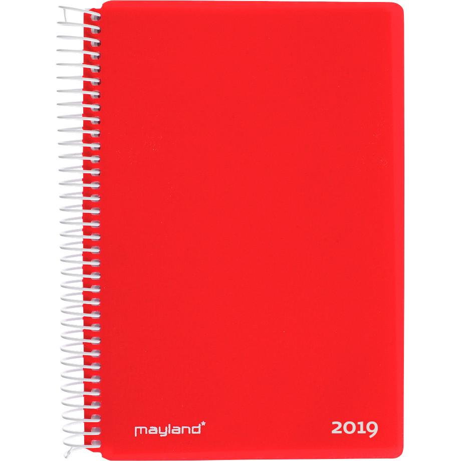 Mayland Spiralkalender 2019 hård PP rød 12 x 17 cm 1 dag/side - 19 2100 40