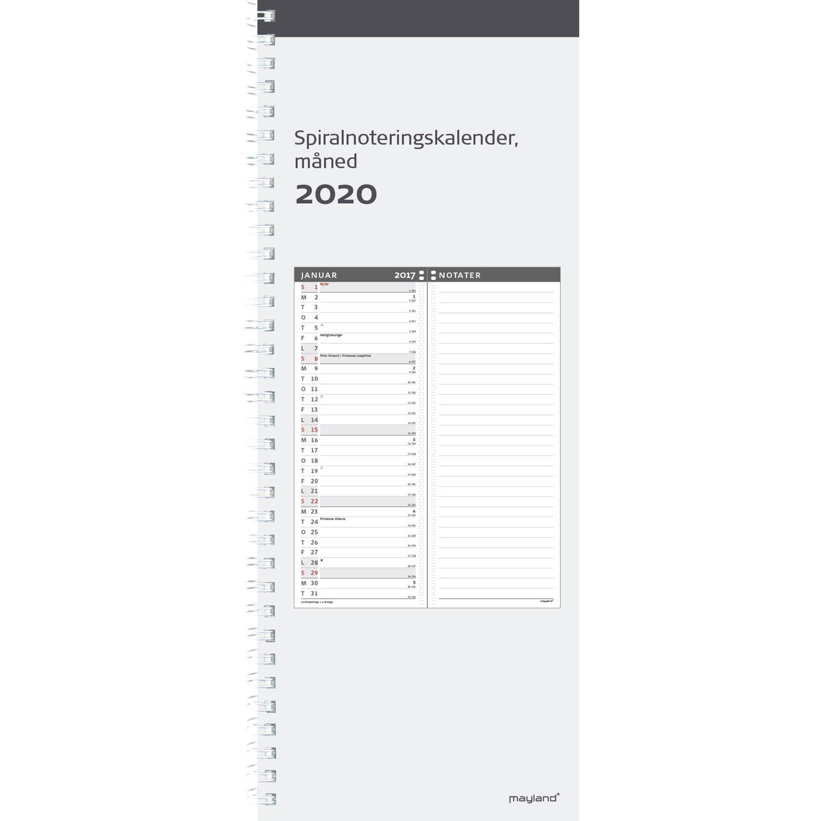Spiralnoteringskalender mdr 11,5x29,5cm 20 2220 00