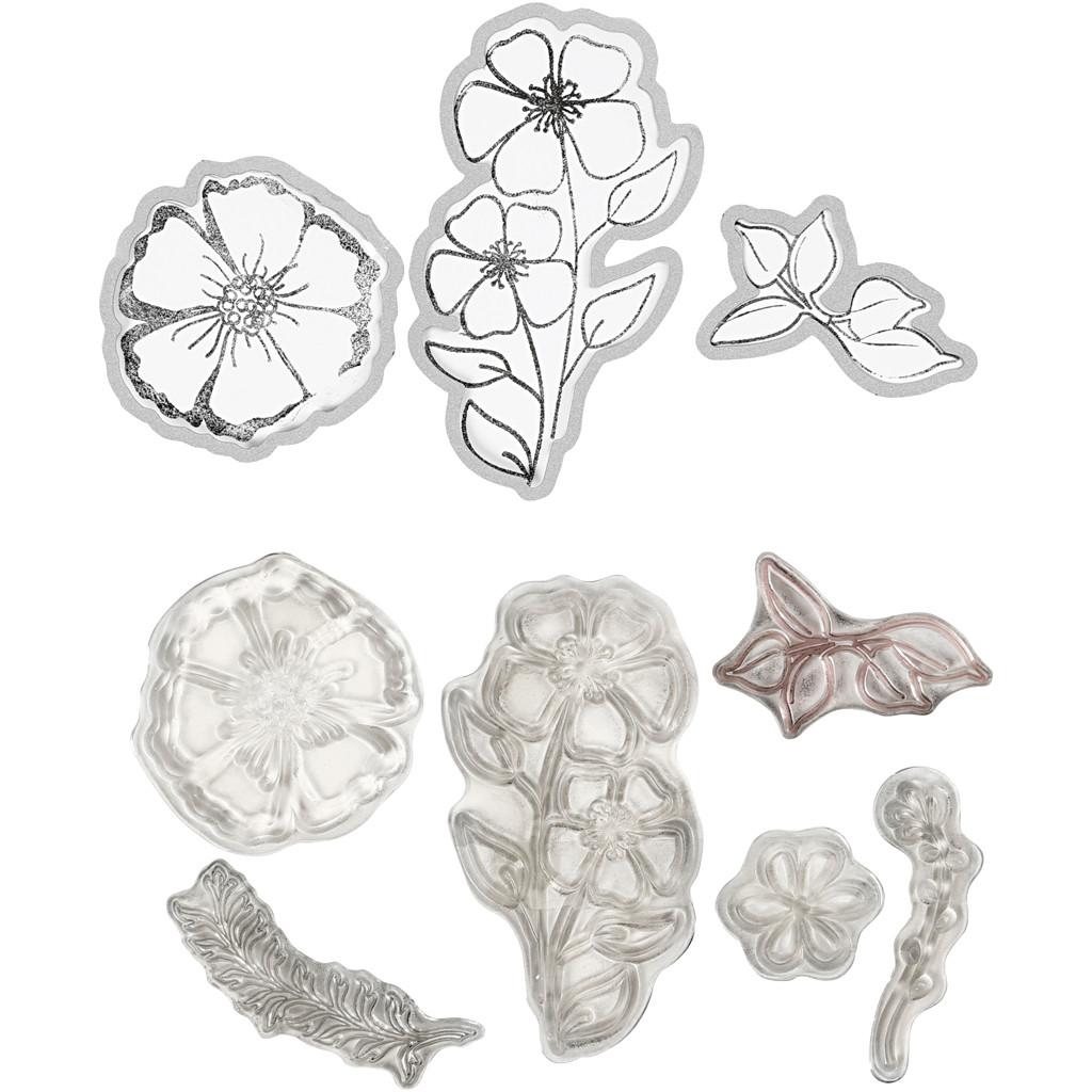Stempler og skæreskabeloner, blomst, 1stk.