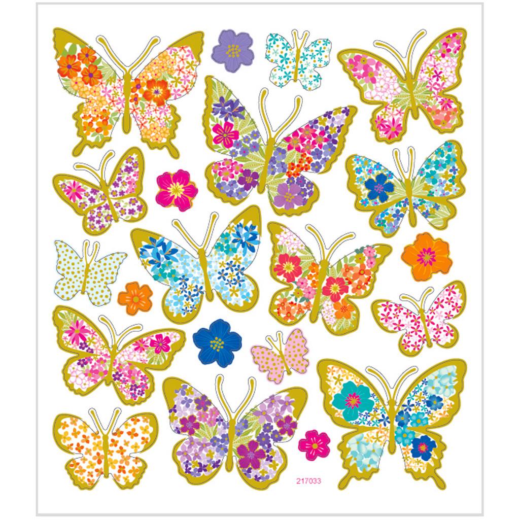 Stickers sommerfugle med blomster papir med detaljer i metalfolie   1 ark á 21 stk.