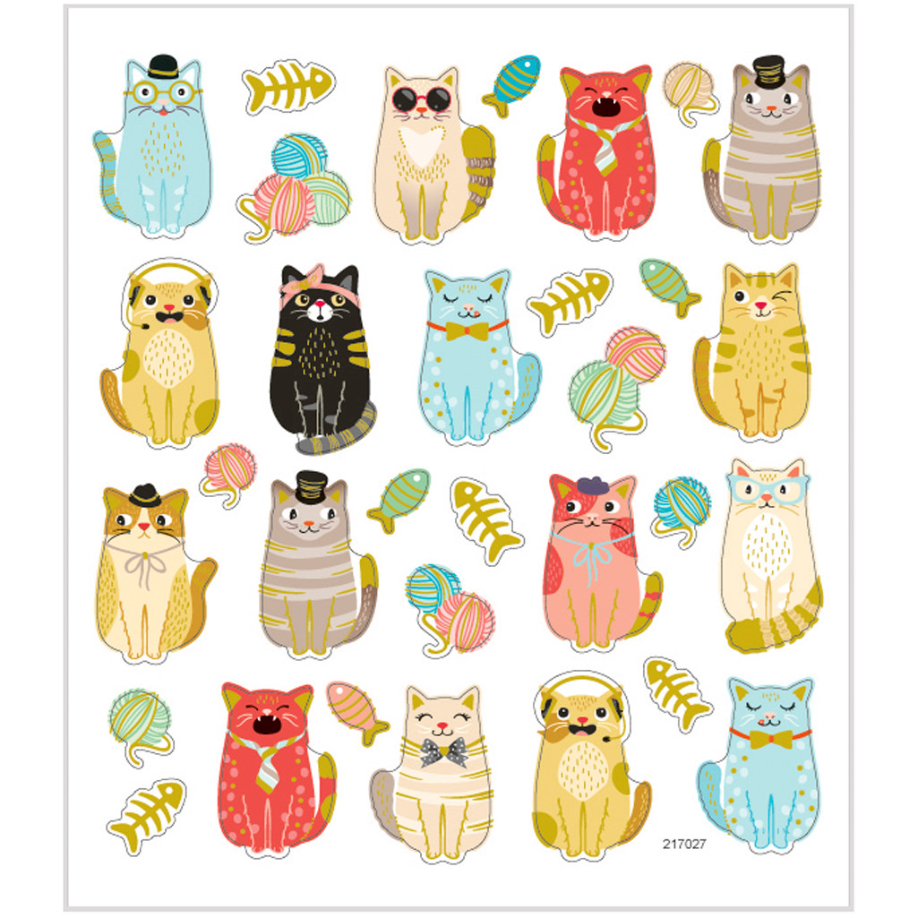 Stickers sjove katte på papir med detaljer i metalfolie   1 ark 32 stk.