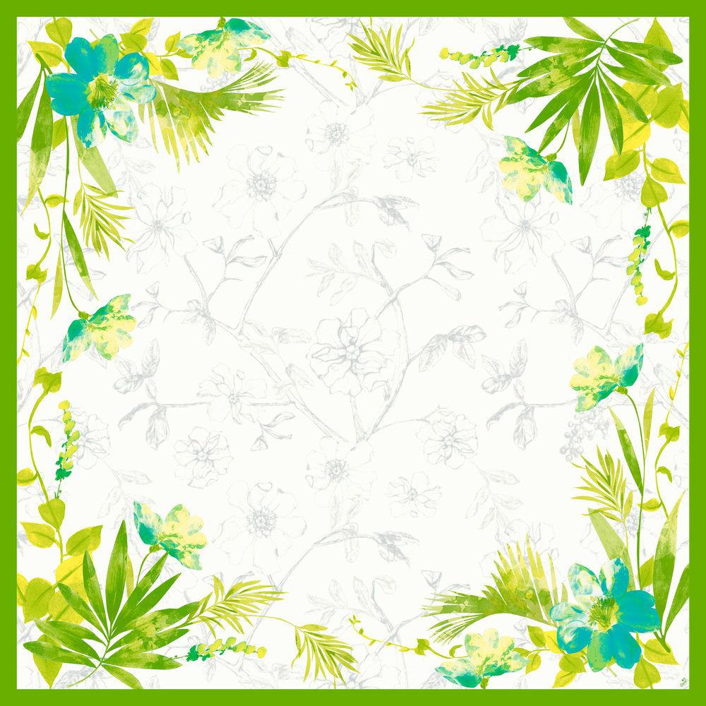 Stikdug, Dunisilk Summertime Blue, 84x84cm, grøn *Denne vare tages ikke retur*