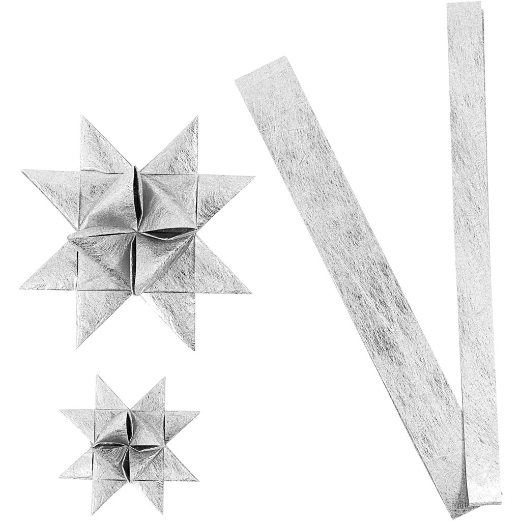 Stjernestrimler Vivi Gade sølv silke B: 15 + 25 cm Ø: 6,5 + 11,5 cm L: 44 + 78 cm | 32 strimler