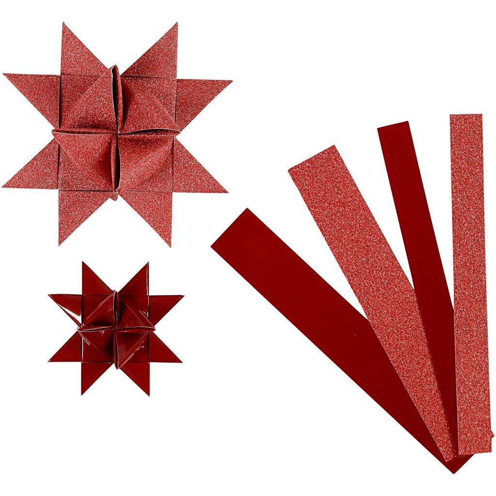 Stjernestrimler Vivi Gade rød glitter og lak B: 15 + 25 mm Ø: 6,5 + 11,5 cm L: 44 + 86 cm - 40 stk.
