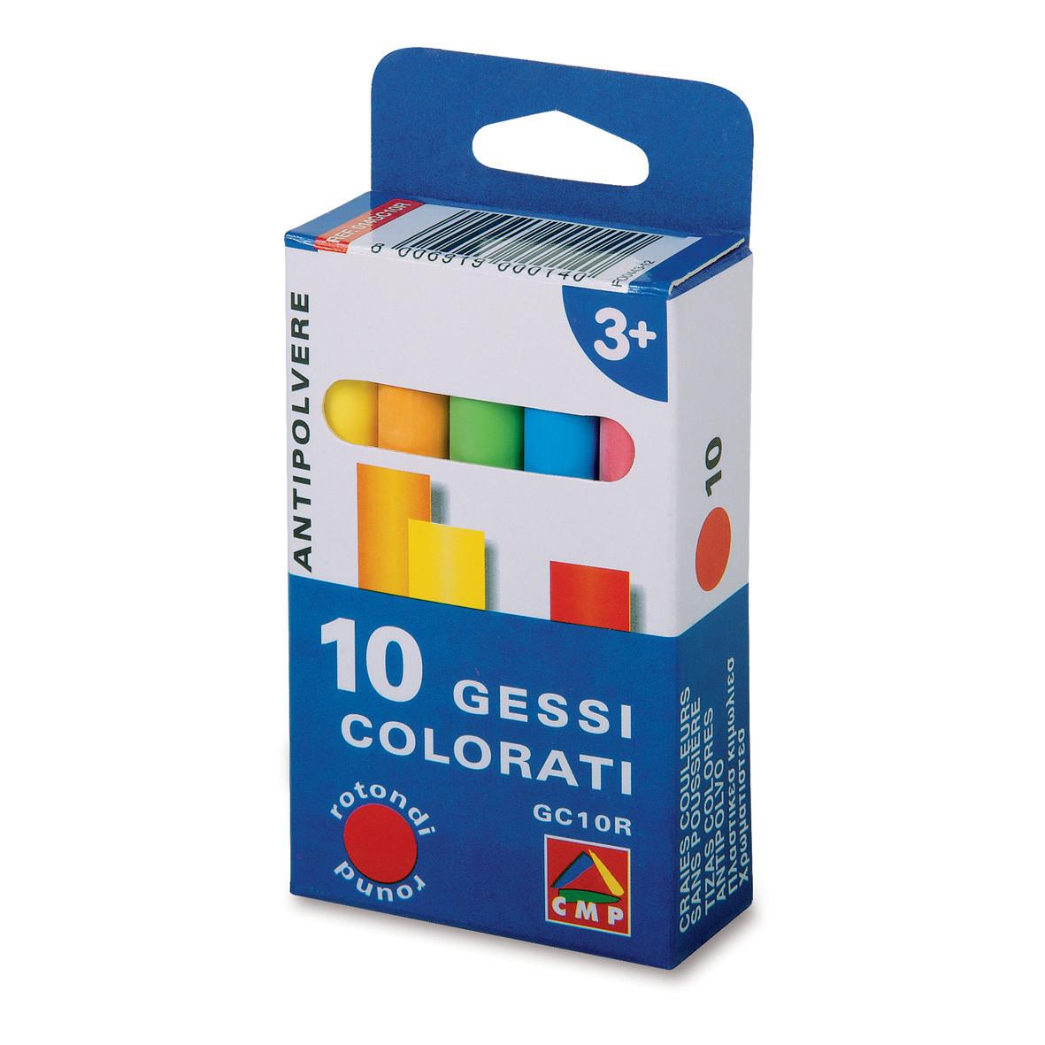 Farvet Tavlekridt - Pakke med 10 stk