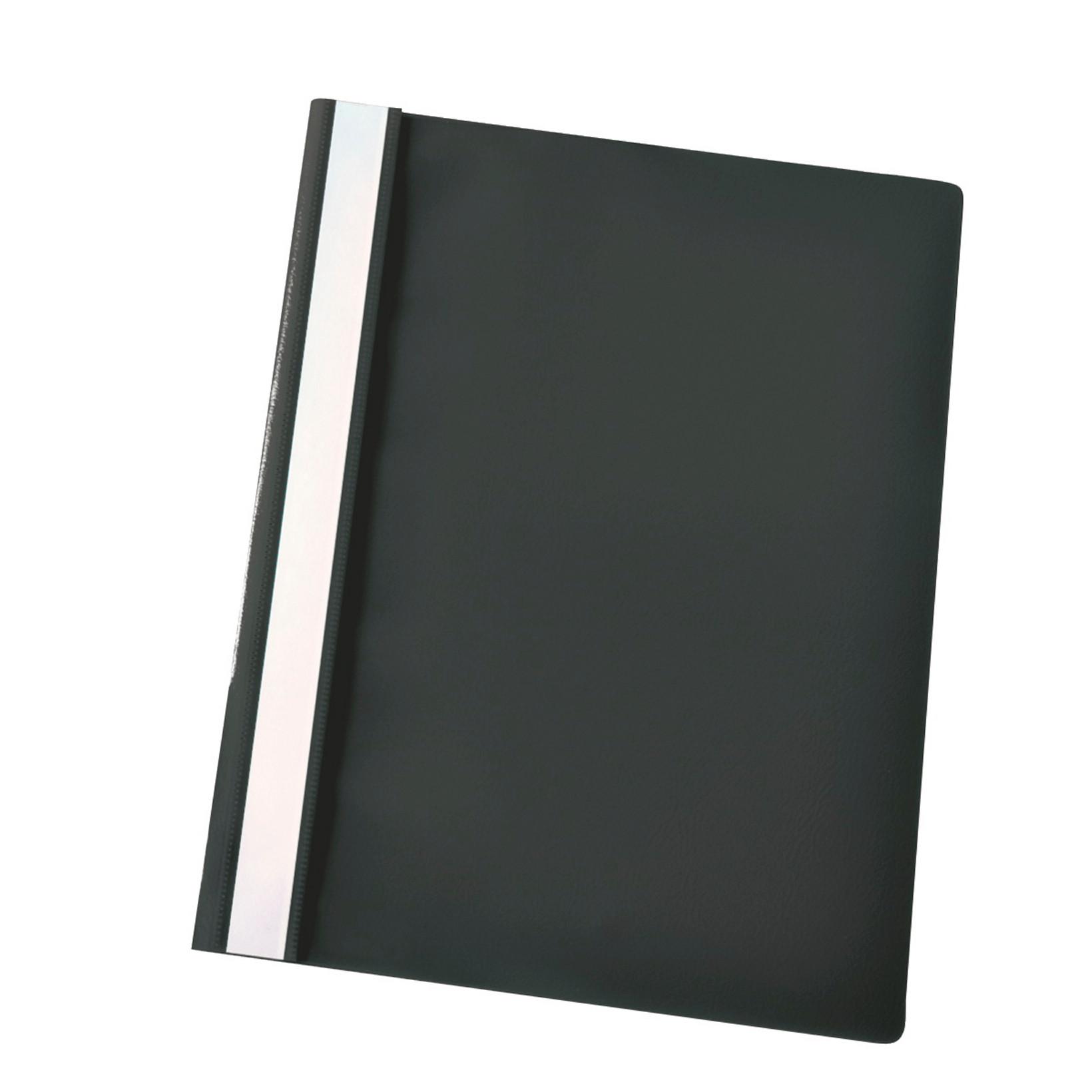 Centra A4 tilbudsmappe med split og overligger - sort med klar forside