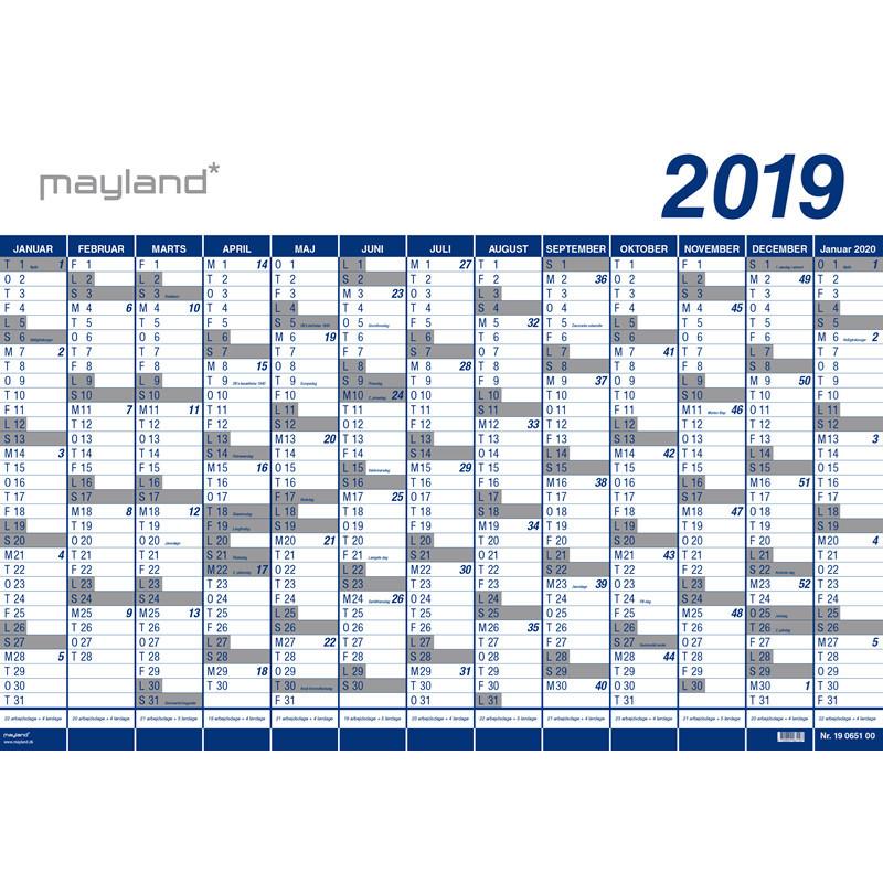 Vægplanner 2019 13 måneder vinyl 100 x 70 cm - 19065000