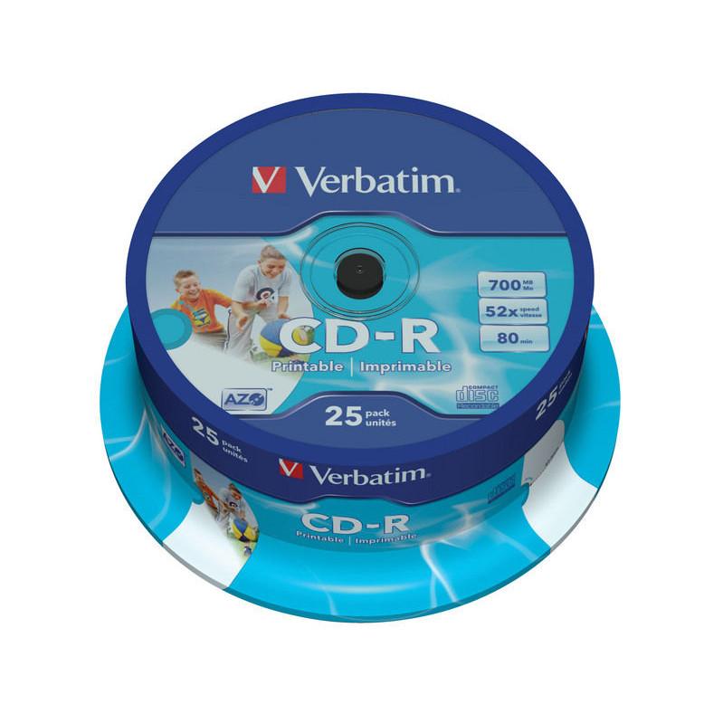Verbatim CD-R AZO, 52X Printable spindel (25)
