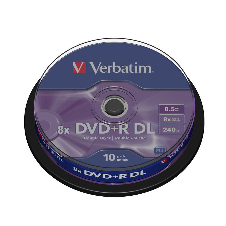 Verbatim DVD+R 8x Double Layer spindle matt silver (10)