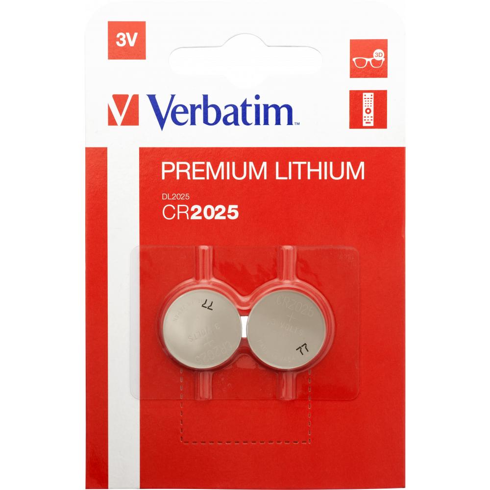 Verbatim Lithium Battery Cr2025 3V 2 Pack