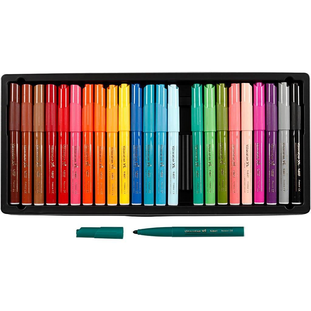 Visa Color tusch, stregtykkelse: 3 mm, ass. farver, 24stk.