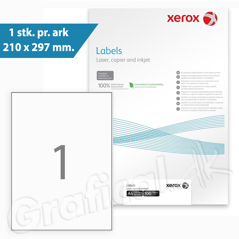 Xerox Labels - 1 pr. ark 210 x 297 mm 003R97400 - 100 ark