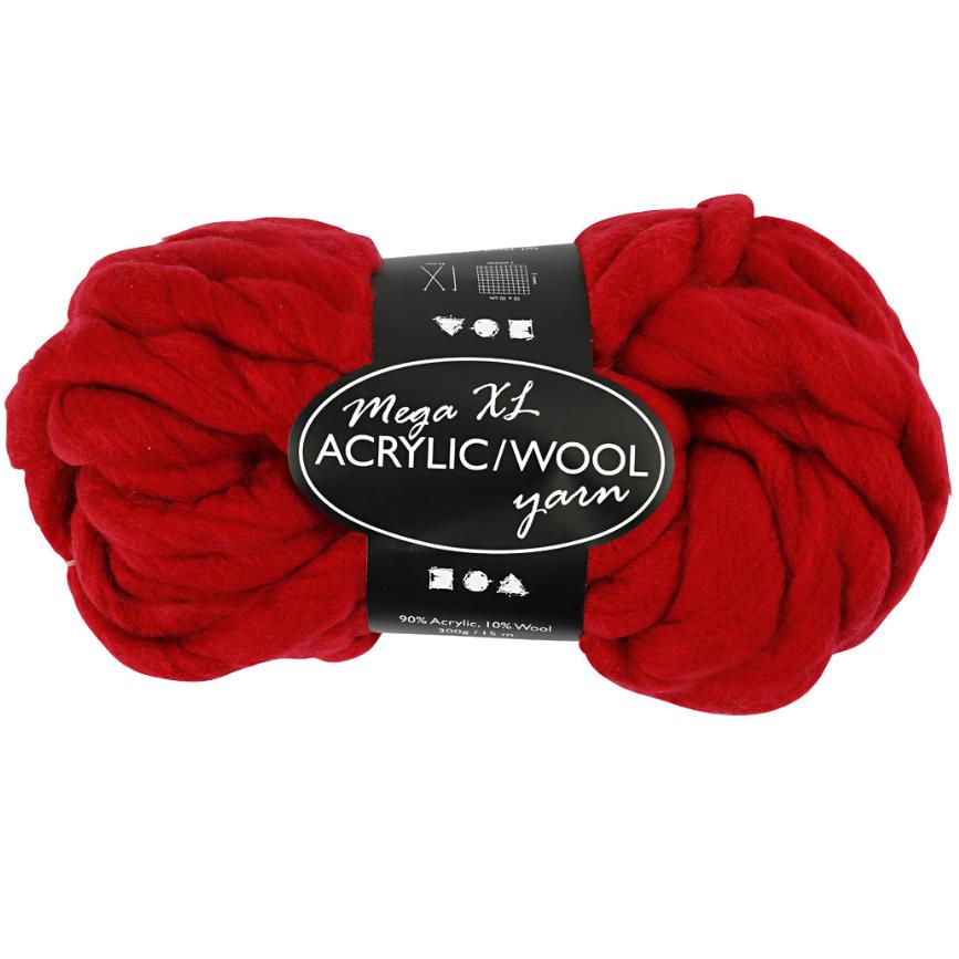 XL kæmpegarn af akryl/uld længde 15 meter mørk rød mega | 300 gram