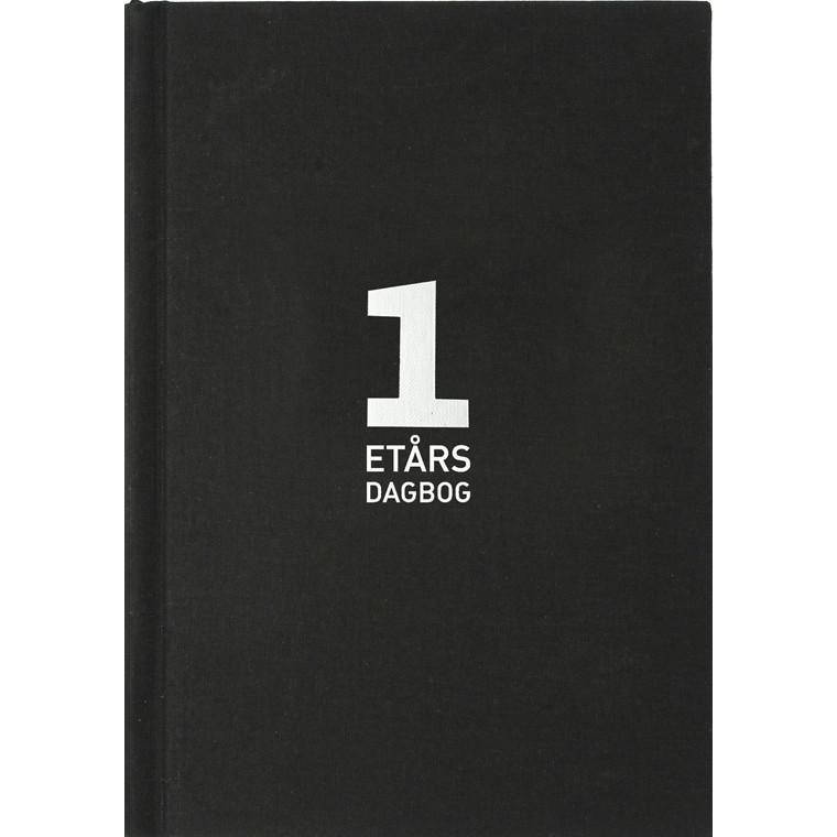 1-års dagbog A5 tekstilpræg sort 15x21cm 3656 00