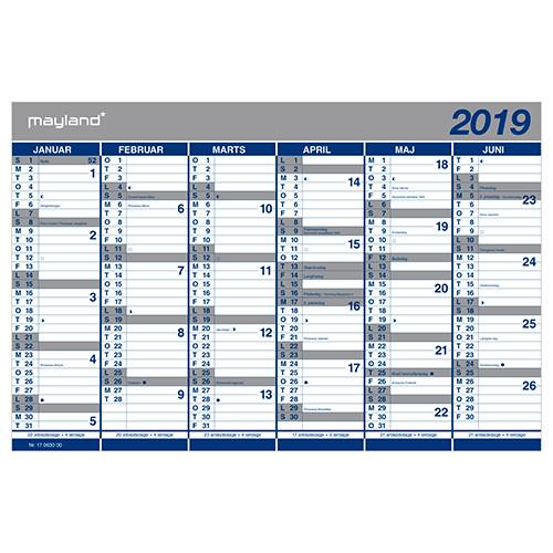 Kartonkalender 2019 halvårs 44 x 29 cm - 19 0630 00