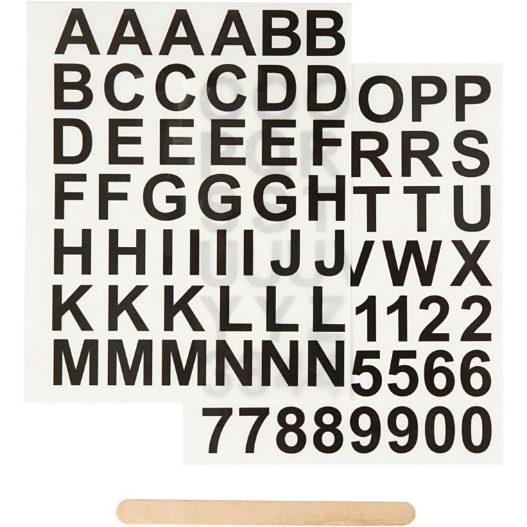 Rub on mærkater, ark 12,2x15,3 cm, bogstaver og tal, 1pk.