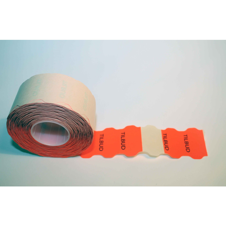 """Prismærke -  32 x 19 mm fluor rød med tryk """"TILBUD"""" - 6 ruller"""
