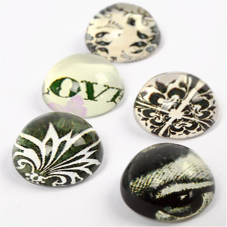 3D Cabochons, dia. 14 mm, tykkelse 7 mm, grøn harmoni, 5ass.