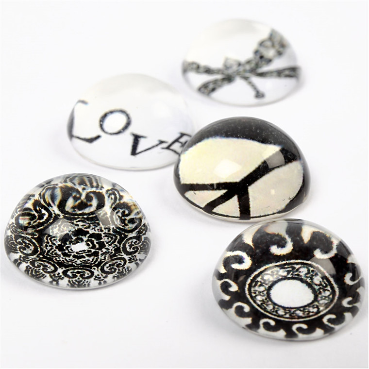 3D Cabochons, dia. 14 mm, tykkelse 7 mm, sort/hvid harmoni, 5ass.
