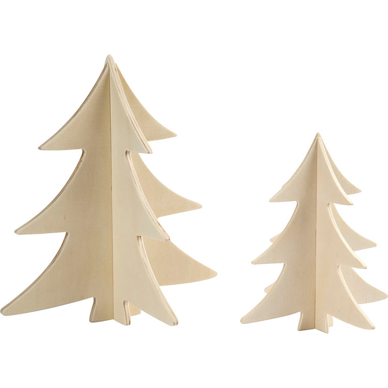 3D juletræer højde 13 + 18 cm krydsfiner - 2 stk.